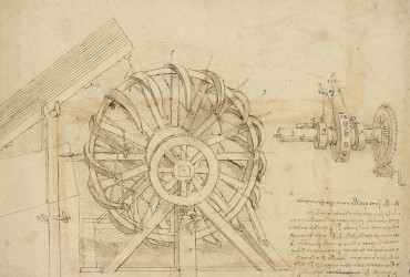 great-sling-rotating-on-horizontal-plane-great-wheel-and-crossbows-devices-from-atlantic-codex-leonardo-da-vinci