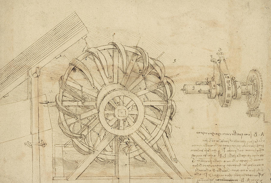 great-sling-rotating-on-horizontal-plane-great-wheel-and-crossbows-devices-from-atlantic-codex-leonardo-da-vinci
